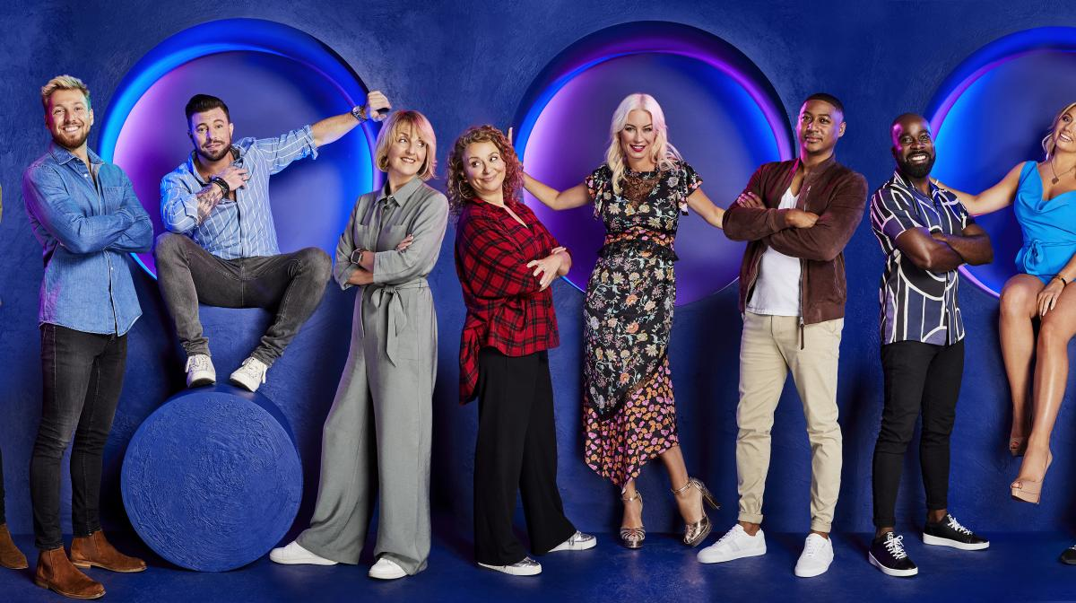 Celebrity Circle players (l-r) Baga Chipz, Pete Wicks, Sam Thompson, Duncan James, Kaye Adams, Nadia Sawalha, Denise van Outen, Rickie Haywood-Williams, Melvin Odoom, Saffron Barker, Lady Leshurr, Charlotte Crosby