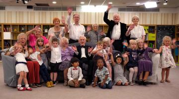 Old People's Homes For 4 Year Olds: - Group picture Back Row left to right: Margaret, Lilian, Fred, Barbara, Ken and Beryl. Bottom Row:- Lis, Pauleen, Ismail, Renee, Mason, Sylvia, Sajaan, Victor, Zexh, Kathleen, Callen, Italiah, Scarlett, Lavinia and Lily.