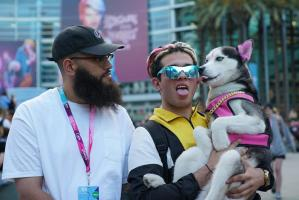 Jamali Maddix with Swagrman and his dog 'Swaggy' at Vidcon (Anaheim, California)