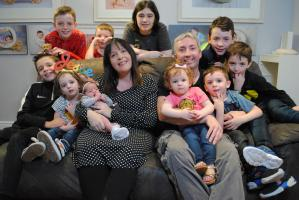 Pictured: Rosemary and Stephen Murphy with Family and Baby Maeve