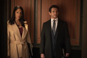 """Gang Goes To War"" -- Episode #404 -- Pictured (l-r): Audra McDonald as Liz Reddick; Hugh Dancy as Caleb Garlin of the CBS All Access series THE GOOD FIGHT. Photo Cr: Patrick Harbron/CBS ©2019 CBS Interactive, Inc. All Rights Reserved."