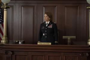 """Gang Goes To War"" -- Episode #404 -- Pictured: Linda Emond as Judge Leora Kuhn of the CBS All Access series THE GOOD FIGHT. Photo Cr: Patrick Harbron/CBS ©2019 CBS Interactive, Inc. All Rights Reserved."