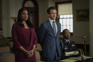 """Gang Goes To War"" -- Episode #404 -- Pictured (l-r): Audra McDonald as Liz Reddick; Hugh Dancy as Caleb Garlin; Stephen Rider as Army Corporal Demarcus Laney of the CBS All Access series THE GOOD FIGHT. Photo Cr: Patrick Harbron/CBS ©2019 CBS Interactive, Inc. All Rights Reserved."