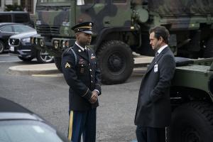 """Gang Goes To War"" -- Episode #404 -- Pictured (l-r): Stephen Rider as Army Corporal Demarcus Laney; Hugh Dancy as Caleb Garlin of the CBS All Access series THE GOOD FIGHT. Photo Cr: Patrick Harbron/CBS ©2019 CBS Interactive, Inc. All Rights Reserved."