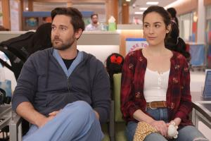 "NEW AMSTERDAM -- ""Hiding Behind My Smile"" Episode 211 -- Pictured: (l-r) Ryan Eggold as Dr. Max Goodwin, Alison Luff as Alice Healy -- (Photo by: Craig Blankenhorn/NBC)"