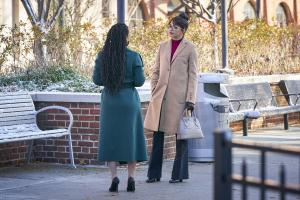 "NEW AMSTERDAM -- ""14 Years, 2 Months, 8 Days"" Episode 212 -- Pictured: (l-r) Freema Agyeman as Dr. Helen Sharpe, Ana Villafane as Dr. Valentina Castro -- (Photo by: Karolina Wojtasik/NBC)"
