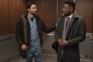 "NEW AMSTERDAM -- ""Double Blind"" Episode 215 -- Pictured: (l-r) Ryan Eggold as Dr. Max Goodwin, Jocko Sims as Dr. Floyd Reynolds -- (Photo by: Virginia Sherwood/NBC)"