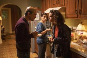 "Ramy -- ""Refugees"" - Episode 106 - Dena, stop trying to soul search like your brother. How are you gonna find yourself if you have to be home by 10? By the way, has anyone seen Ramy lately? Farouk (Amr Waked), Dena (May Calamawy), and Maysa (Hiam Abbass), shown. (Photo by: Craig Blankenhorn/Hulu)"