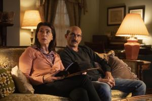 "Ramy -- ""Refugees"" - Episode 106 - Dena, stop trying to soul search like your brother. How are you gonna find yourself if you have to be home by 10? By the way, has anyone seen Ramy lately?  Maysa (Hiam Abbass) and Farouk (Amr Waked), shown. (Photo by: Craig Blankenhorn/Hulu)"