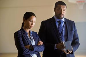 Ep1.  Detectives Mac McAvoy (Roger Cross) and Taylor Chung (Alli Chung) at the Detention Centre.