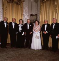 The Queen at 10 Downing Street to celebrate 250 years of it being the official residence of the British Prime Minister, with leaders past and present (l to r) James Callaghan, Sir Alec Douglas-Home, Margaret Thatcher, Harold Macmillan, Harold Wilson and Ted Heath. (Photo by © Hulton-Deutsch Collection/CORBIS/Corbis via Getty Images)