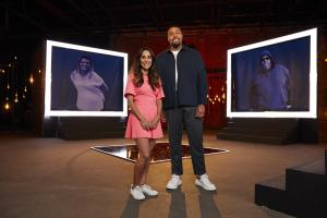 Dr Sara Kayat and Ashley Banjo stand in front of their own before images on set of Lose Weight Like Me.  .Behind on the screen shows the Diet Heros who will support the contributors through their weight loss journeys. .TX: Ch4