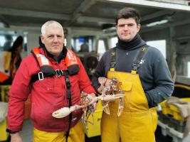 Lobster Fisherman Jake Gilbert and his dad Martin.