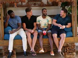 "TEMPTATION ISLAND -- ""Finale Bonfire Part I"" Episode 110 --  Pictured: (l-r) Javen Butler, Evan Smith, Karl Collins, John Thurmond -- (Photo by: Mario Perez/USA Network)"