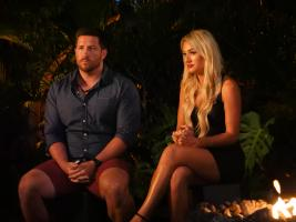 "TEMPTATION ISLAND -- ""Finale Bonfire - Part 2"" Episode 111 -- Pictured: (l-r) John Thurmond, Kady Krambeer -- (Photo by: Mario Perez/USA Network)"