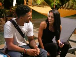 "TEMPTATION ISLAND -- ""Finale Bonfire Part I"" Episode 110 --  Pictured: (l-r) Karl Collins, Shari Ligons -- (Photo by: Mario Perez/USA Network)"
