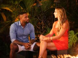 TEMPTATION ISLAND -- Episode 110 --  Pictured: (l-r) Karl Collins, Nicole Tutewohl -- (Photo by: Mario Perez/USA Network)