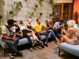 "TEMPTATION ISLAND -- ""Finale Bonfire Part I"" Episode 110 --  Pictured: (l-r) Karl Collins, Shari Ligons, Kaci Campbell, Valentin Osipov, Nicole Tutewohl, Javen Butler -- (Photo by: Mario Perez/USA Network)"