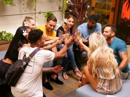 "TEMPTATION ISLAND -- ""Finale Bonfire Part I"" Episode 110 --  Pictured: (l-r) Karl Collins, Shari Ligons, Kaci Campbell, Valentin Osipov, Nicole Tutewohl, Javen Butler, Johnny Alexander -- (Photo by: Mario Perez/USA Network)"