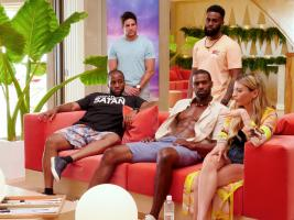 "TEMPTATION ISLAND -- ""The Cuffs Are Off"" Episode 202 -- Pictured: (l-r) Chris Grant, Aden Twer, Kareem Thomas, Dominique Price, Kate Griffith -- (Photo by: Mario Perez/USA Network)"