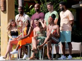 "TEMPTATION ISLAND -- ""The Cuffs Are Off"" Episode 202 -- Pictured: (l-r) Kate Griffith, Dominique Price, Ashley Godson, Kalaan Brown, Ashley Howland, Deac Conti, Esonica Veira, Kareem Thomas -- (Photo by: Mario Perez/USA Network)"
