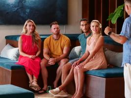 "TEMPTATION ISLAND -- ""Tonight Can Change Everything"" Episode 209 -- Pictured: (l-r) Rachel Hamel, Casey Starchak, David Bensvidez, Toneata Morgan -- (Photo by: Mario Perez/USA Network)"