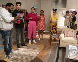 "BLACK-ISH - ""Relatively Grown Man"" - After Junior gets an offer for his dream job working with Migos, Dre and Bow are determined to convince him to return to college and get his degree on the season finale of ""black-ish,"" TUESDAY, MAY 21 (9:00-9:30 p.m. EDT), on The ABC Television Network. (ABC/Richard Cartwright).ANTHONY ANDERSON, MARCUS SCRIBNER, TRACEE ELLIS ROSS, GEFFRI MAYA, YARA SHAHIDI, AUGUST AND BERLIN GROSS, JENIFER LEWIS"