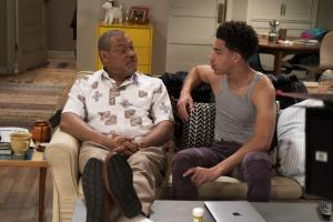 "BLACK-ISH - ""Relatively Grown Man"" - After Junior gets an offer for his dream job working with Migos, Dre and Bow are determined to convince him to return to college and get his degree on the season finale of ""black-ish,"" TUESDAY, MAY 21 (9:00-9:30 p.m. EDT), on The ABC Television Network. (ABC/Richard Cartwright).LAURENCE FISHBURNE, MARCUS SCRIBNER"