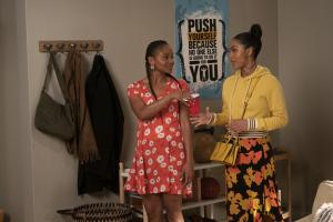 "BLACK-ISH - ""Relatively Grown Man"" - After Junior gets an offer for his dream job working with Migos, Dre and Bow are determined to convince him to return to college and get his degree on the season finale of ""black-ish,"" TUESDAY, MAY 21 (9:00-9:30 p.m. EDT), on The ABC Television Network. (ABC/Richard Cartwright).GEFFRI MAYA, YARA SHAHIDI"