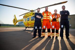Pictured: Dr Dave Clutton, Critical Care Paramedic Page Chamberlain, Babcock Pilots Martin Polding & Paul Smith