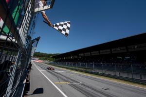 Mandatory Credit: Photo by CHRISTIAN BRUNA/POOL/EPA-EFE/Shutterstock (10324760cp).Dutch Formula One driver Max Verstappen of Aston Martin Red Bull Racing passes the finish line with checkered flag during the Austrian Formula One GP at the Red Bull Ring circuit in Spielberg, Austria, 30 June 2019..Formula One Grand Prix of Austria, Spielberg - 30 Jun 2019
