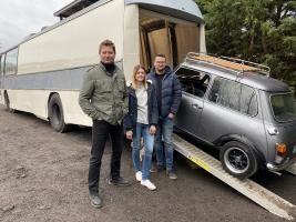 George with a couple who plan to turn a coach into a mobile home, complete with a garage for their car