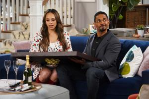 """Vows"" -- When Cooper gives Jake and Claire an anniversary gift featuring their original wedding vows, tensions rise as they attempt to take their vows literally, on HAPPY TOGETHER, Monday, Jan. 7 (8:30-9:00 PM, ET/PT) on the CBS Television Network.  Pictured: Amber Stevens West, Damon Wayans Jr.  Photo: Sonja Flemming/CBS ÿ¿ÿ©2018 CBS Broadcasting, Inc. All Rights Reserved"