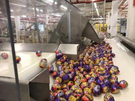 Crème Eggs rolling off the factory line