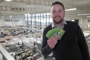 Pictured: Matt at St Austell Printing Company where Top Trumps are manufactured.