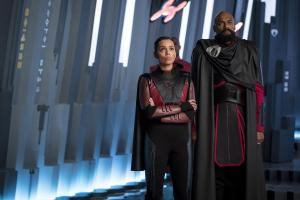 Pictured: (l-r) Georgina Campbell as Lyta-Zod, Colin Salmon as General Zod