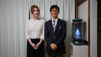 Japan.  Alice, Mr Kondo and Hatsune Miku (Mr Kondoâ¿¿s hologram wife).