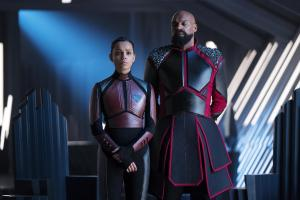"KRYPTON -- ""Ghost in the Fire"" Episode 202 -- Pictured: (l-r) Georgina Campbell as Lyta-Zod, Colin Salmon as General Zod -- (Photo by: Steffan Hill/SYFY)"
