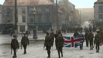 Irish Republican rebels are forced to march attached to the United Kingdom flag as a sign of reaffirmation of British supremacy over Ireland.