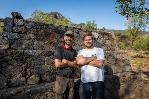 Ep2.  Main contributors Lucas Cantu (architect) & Dr David Walton next to completed pyramid.