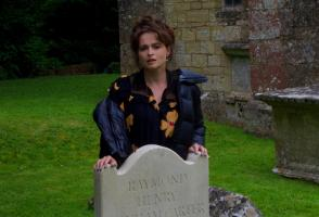 Actress Helena Bonham Carter in Stockton, Wiltshire besides the grave of her father.