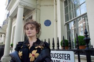 Actress Helena Bonham Carter outside the home where her grandmother Lady Violet Bonham Carter lived during World War Two.