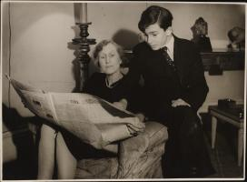 Lady Violet Bonham Carter with her son Raymond in their family home during World War Two.