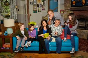 Pictured (L-R)  Matthew McCann  as  Teddy,  Hala Finley as  Emme,  Liza Snyder as  Andi,  Kevin Nealon as  Don, Matt LeBlanc as  Adam and Grace Kaufman as  Kate