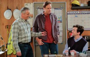 """Family Business"" -- After struggling to find work, Andi (Liza Snyder) proposes an idea for her and Adam (Matt LaBlanc) to go into business together. Also, Adam tackles a challenging renovation of Joe (Stacy Keach) and Bev\'s (Swoosie Kurtz) kitchen on MAN WITH A PLAN, Monday, May 21 (8:30-9:00 PM, ET/PT) on the CBS Television Network. Pictured (L-R) Matt LeBlanc as Adam, Kevin Nealon as Don and Matt Cook as Lowell Photo: Darren Michaels/CBS ÿ¿ÿ©2018 CBS Broadcasting, Inc. All Rights Reserve"