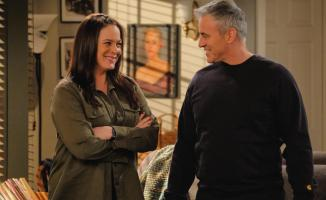 """Family Business"" -- After struggling to find work, Andi (Liza Snyder) proposes an idea for her and Adam (Matt LaBlanc) to go into business together. Also, Adam tackles a challenging renovation of Joe (Stacy Keach) and Bev\'s (Swoosie Kurtz) kitchen on MAN WITH A PLAN, Monday, May 21 (8:30-9:00 PM, ET/PT) on the CBS Television Network. .  Pictured (L-R) Liza Snyder as Andi and Matt LeBlanc as Adam  Photo: Darren Michaels/CBS ÿ¿ÿ©2018 CBS Broadcasting, Inc. All Rights Reserved"