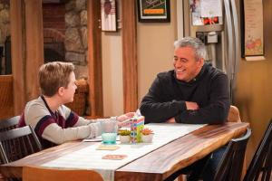 """We Don\'t Need Another Hero"" - Adam gets jealous when Teddy names Andi as his hero for a school essay, on MAN WITH A PLAN, Monday, April 15 (8:30-9:00 PM, ET/PT) on the CBS Television Network.  Pictured (L-R)  Matthew McCann as  Teddy and Matt LeBlanc as Adam Burns  Photo: Monty Brinton/CBS ÿ¿ÿ©2018 CBS Broadcasting, Inc. All Rights Reserved"