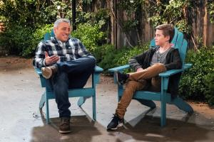 """We Don\'t Need Another Hero"" - Adam gets jealous when Teddy names Andi as his hero for a school essay, on MAN WITH A PLAN, Monday, April 15 (8:30-9:00 PM, ET/PT) on the CBS Television Network.  Pictured (L-R) Matt LeBlanc as Adam Burns  and   Matthew McCann as  Teddy   Photo: Monty Brinton/CBS ÿ¿ÿ©2018 CBS Broadcasting, Inc. All Rights Reserved"