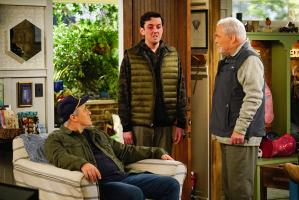 """Cabin Fever"" -- When Adam accidentally invites Andi on the annual guys\' trip, he tries to un-invite her, which only makes matters worse, on MAN WITH A PLAN, Monday, April 22 (8:30-9:00 PM, ET/PT) on the CBS Television Network. Pictured (L-R)  Matt LeBlanc as Adam Burns, Matt Cook as Lowell and Stacy Keach as Joe Burns    Photo: Sonja Flemming/CBS ÿ¿ÿ©2018 CBS Broadcasting, Inc. All Rights Reserved"