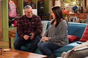 """Cabin Fever"" -- When Adam accidentally invites Andi on the annual guys\' trip, he tries to un-invite her, which only makes matters worse, on MAN WITH A PLAN, Monday, April 22 (8:30-9:00 PM, ET/PT) on the CBS Television Network. Pictured (L-R)  Matt LeBlanc as Adam Burns and Liza Snyder as Andi Burns   Photo: Sonja Flemming/CBS ÿ¿ÿ©2018 CBS Broadcasting, Inc. All Rights Reserved"